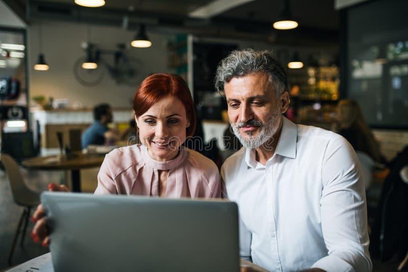 Man och kvinna som har affärsmöte i ett kafé, genom att använda bärbara datorn royaltyfri bild