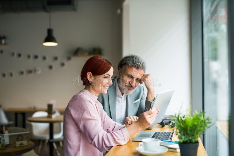 Man och kvinna som har affärsmöte i ett kafé, genom att använda bärbara datorn royaltyfri fotografi