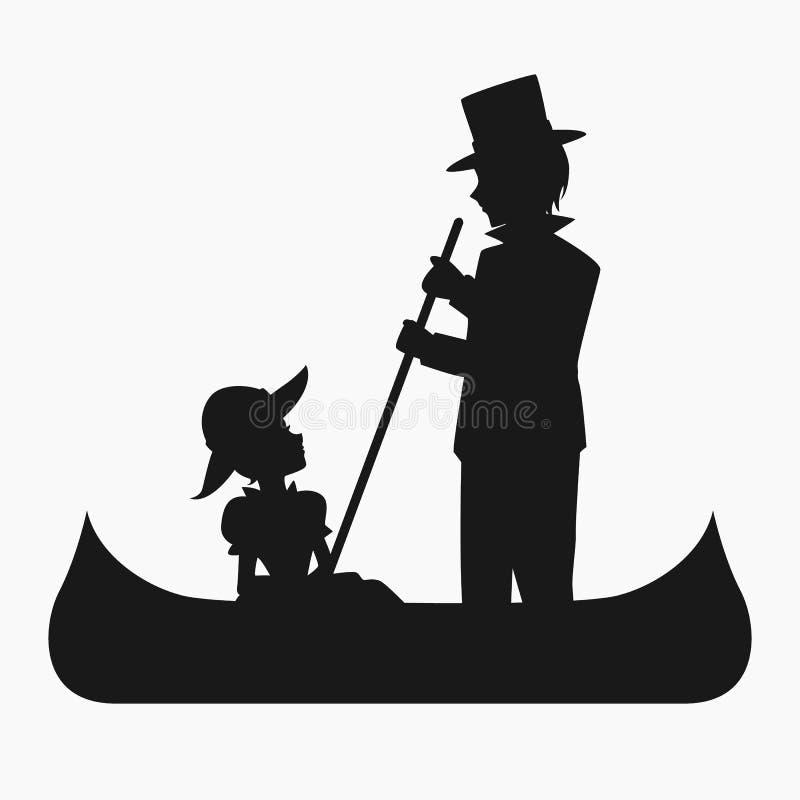 Man och kvinna som rider en kanotkontur vektor illustrationer