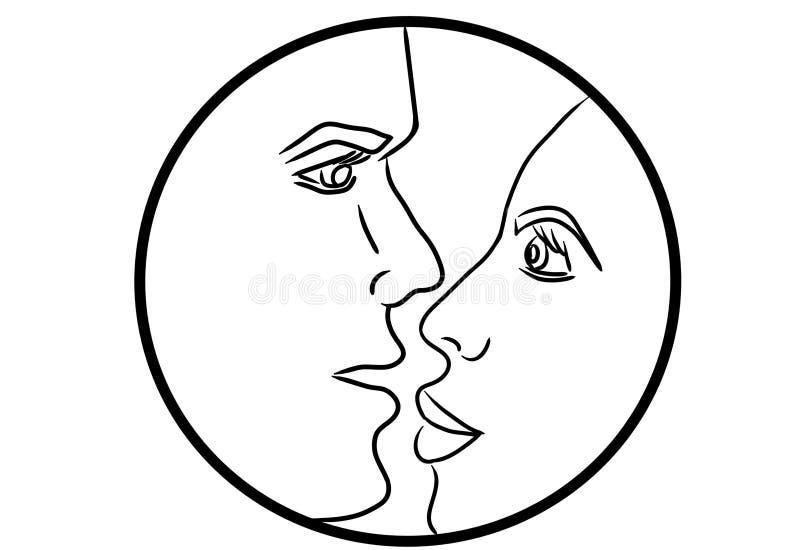 Man och kvinna som ser de 2D illustration av svarta linjer royaltyfri illustrationer