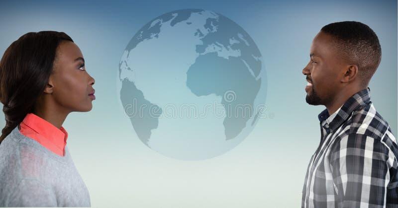 Man och kvinna som ser jordklotet royaltyfri illustrationer