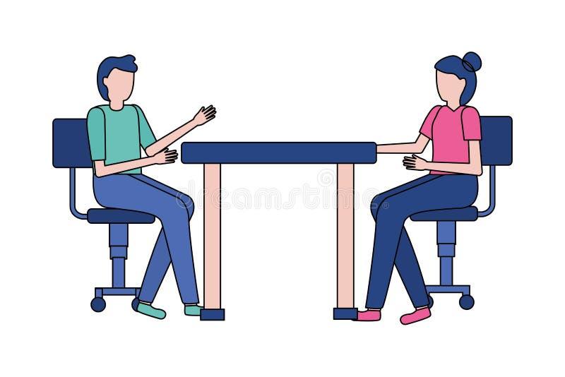 Man och kvinna som sitter på stolar stock illustrationer