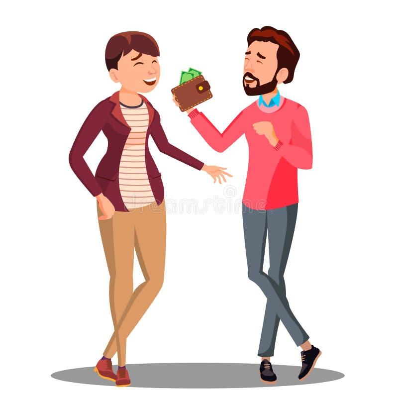 Man och kvinna som talar om familjbudget med pengarvektorn isolerad knapphandillustration skjuta s-startkvinnan royaltyfri illustrationer