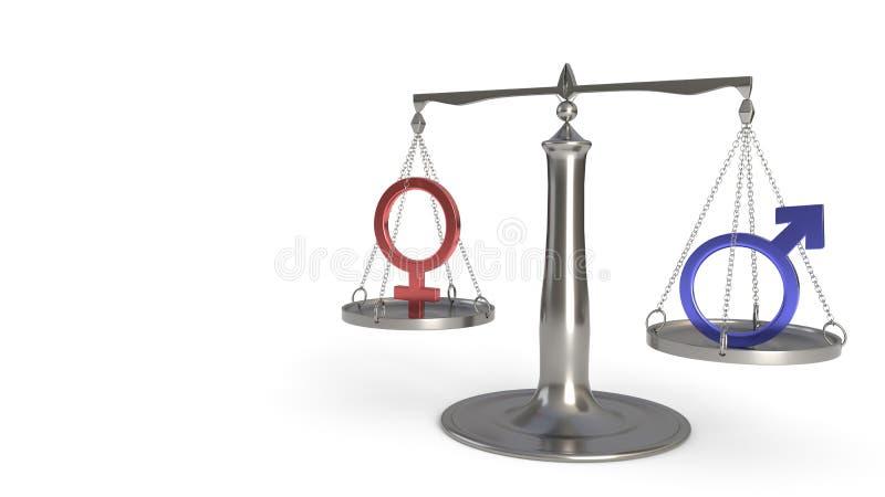 Man- och kvinnabegrepp av jämvikt, tolkning 3d vektor illustrationer
