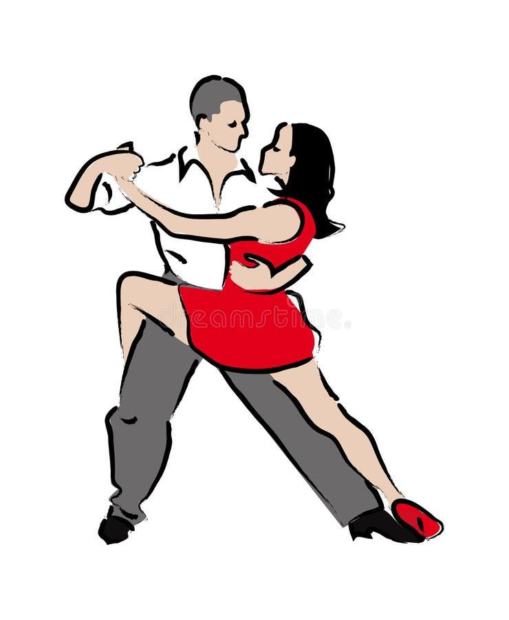 Man- och kvinnadanstango vektor illustrationer