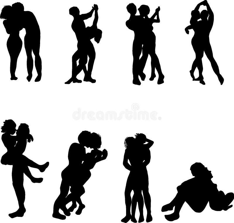 Man och kvinnaförälskelse- och danssymboler royaltyfri illustrationer