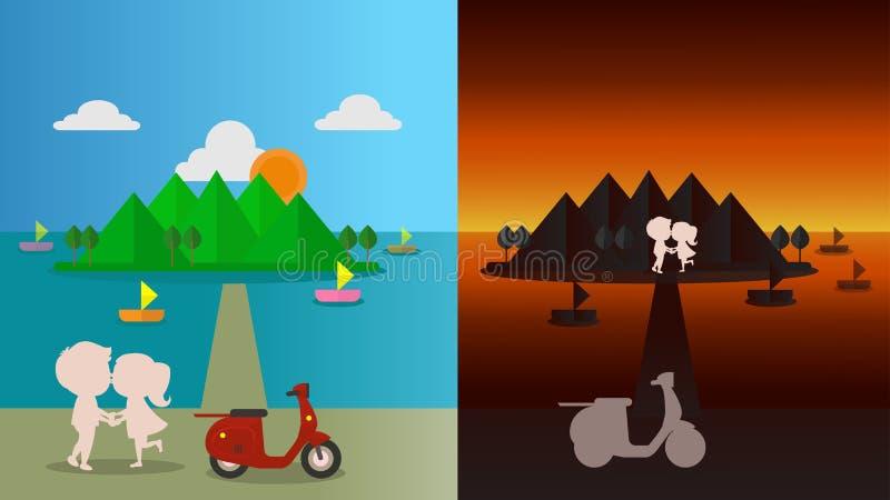 Man- och kvinnaförälskelseromantiker royaltyfri illustrationer
