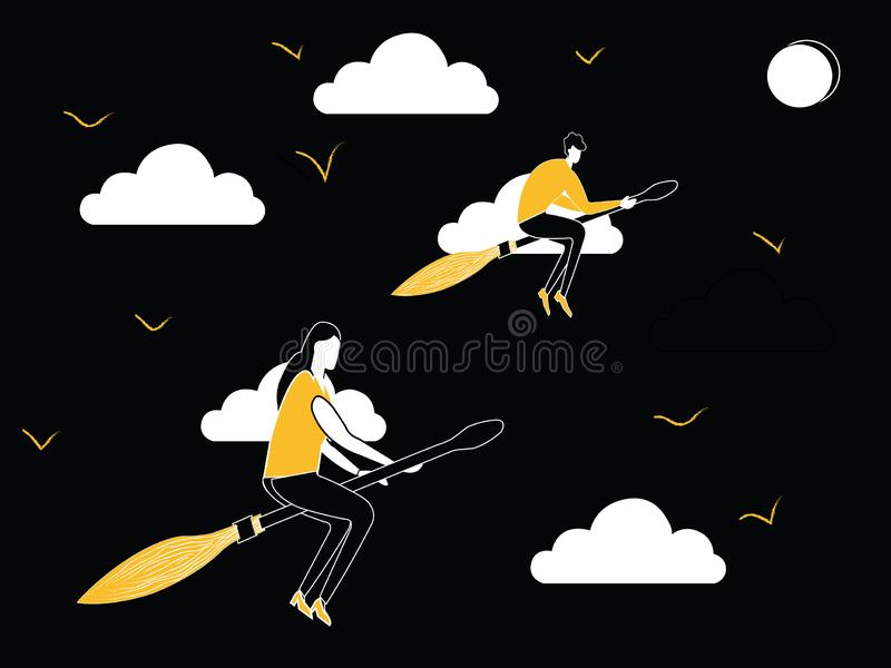 Man- och kvinnaflyg på kvastpinnen vektor illustrationer
