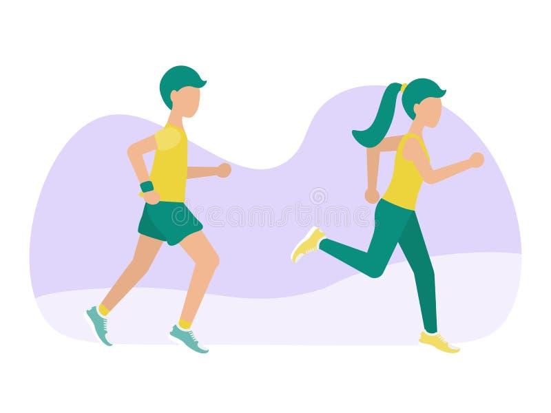 Man- och kvinnaidrottsman nen kör arkivfoton