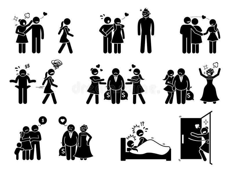 Man- och kvinnakärleksaffär royaltyfri illustrationer
