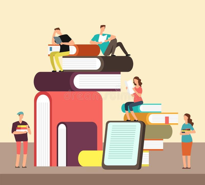 Man- och kvinnaläseböcker Sänker den idérika idétecknade filmen för folk och för boken begrepp Affisch för bokfestivalvektor vektor illustrationer