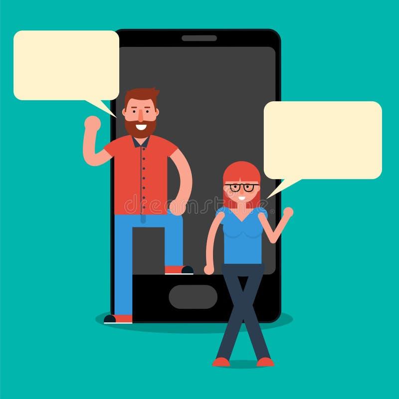 Man- och kvinnamillennials som smsar eller pratar via budbäraremobil royaltyfri illustrationer