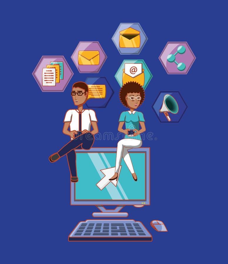 Man- och kvinnasammanträde på datoren med sociala massmediasymbolsapps stock illustrationer