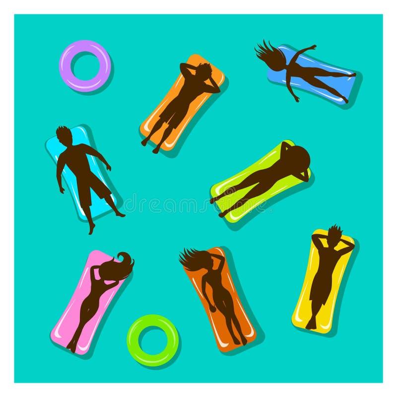 Man- och kvinnasimning som svävar i pöl på uppblåsbara madrasskonturer stock illustrationer