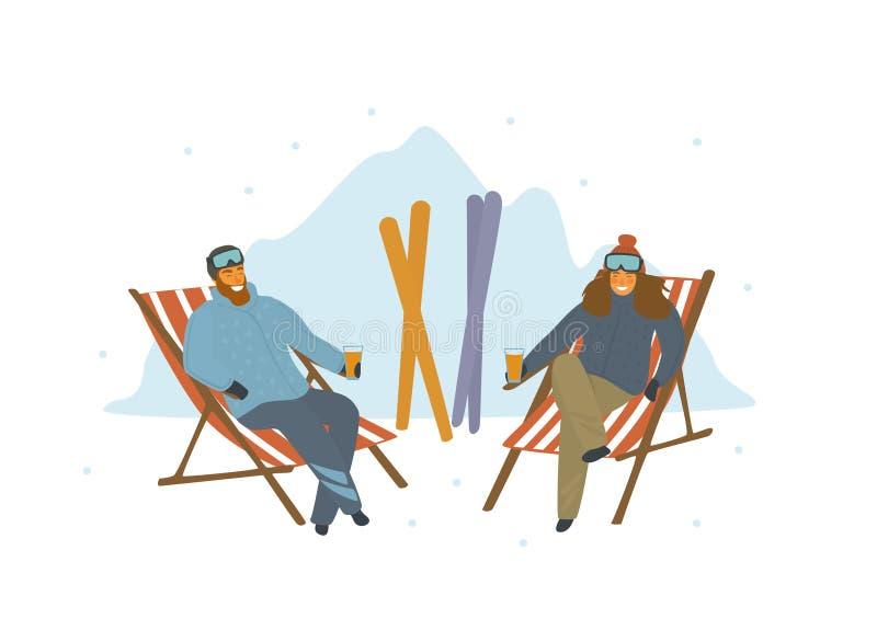 Man- och kvinnaskidåkare som kopplar av, når att ha skidat på vardagsrumstolar på semesterorten vektor illustrationer