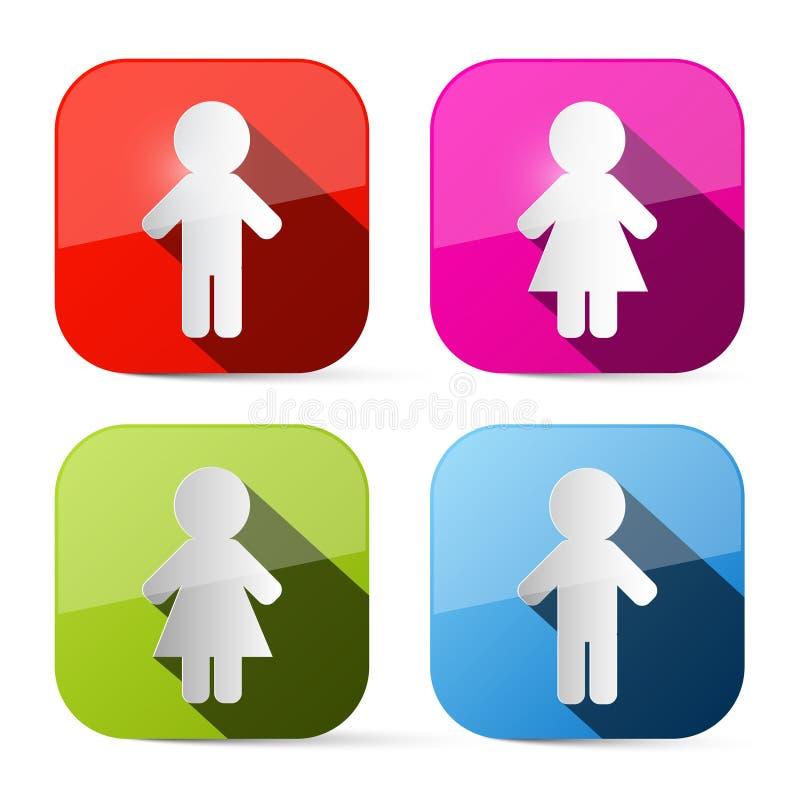 Man- och kvinnasymboler - knappar vektor illustrationer
