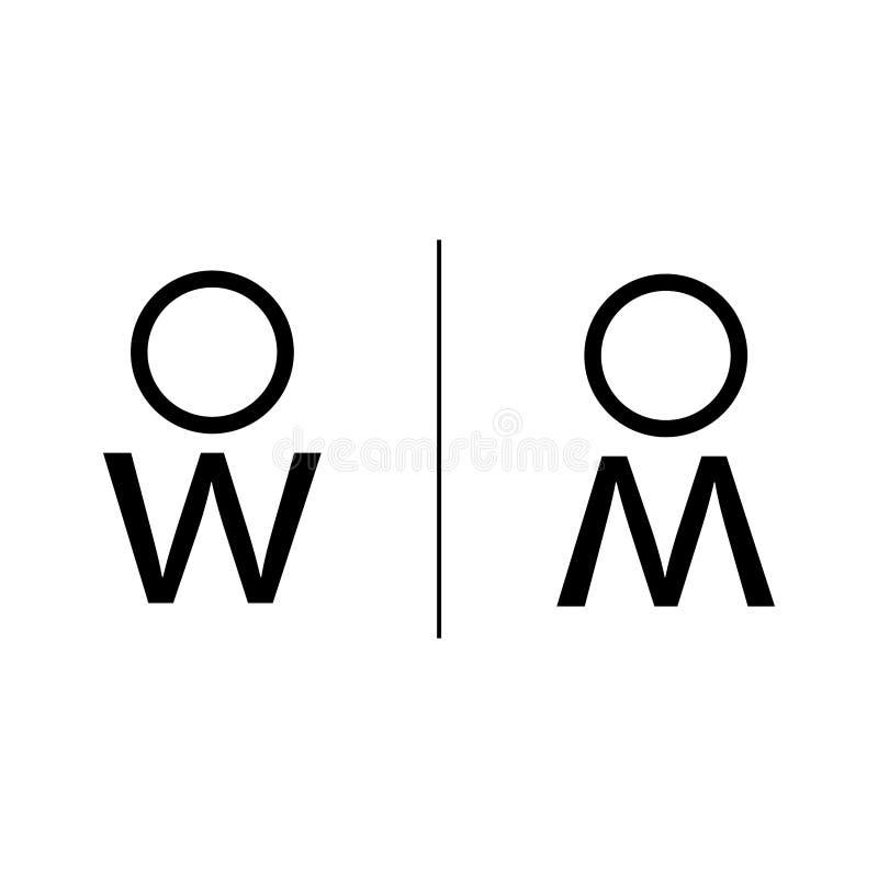 Man- och kvinnatecken för toalett vektor illustrationer