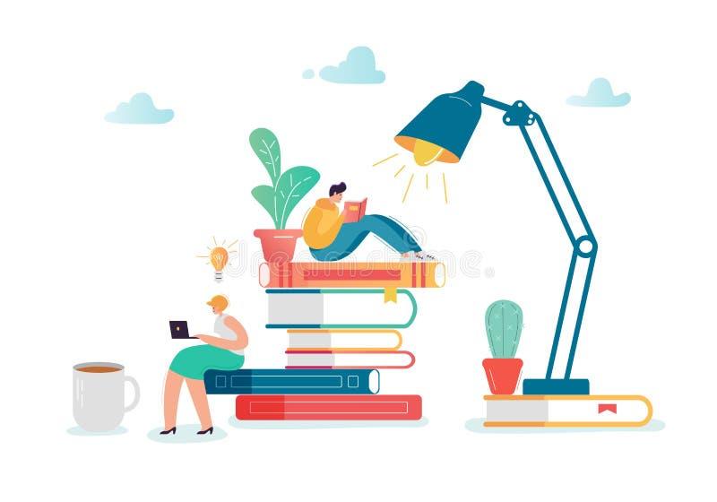 Man- och kvinnateckenläseböcker Plant folk som sitter på bunt av böcker Utbildning arkivlitteraturbegrepp royaltyfri illustrationer
