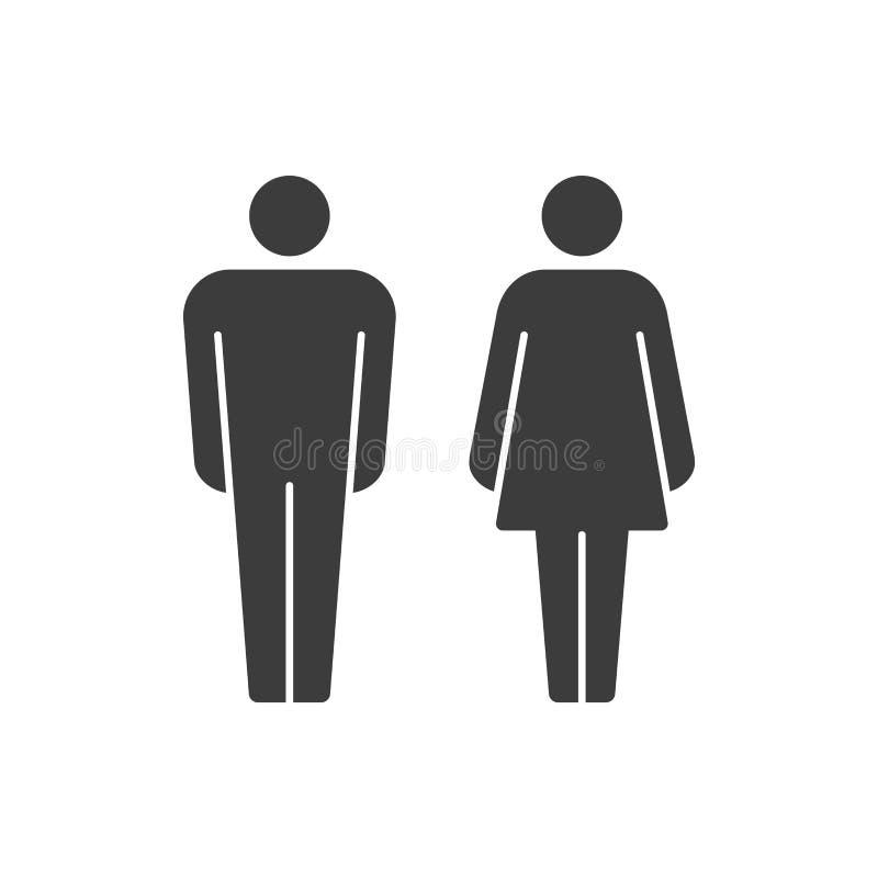 Man- och kvinnavektorpictograms royaltyfri illustrationer