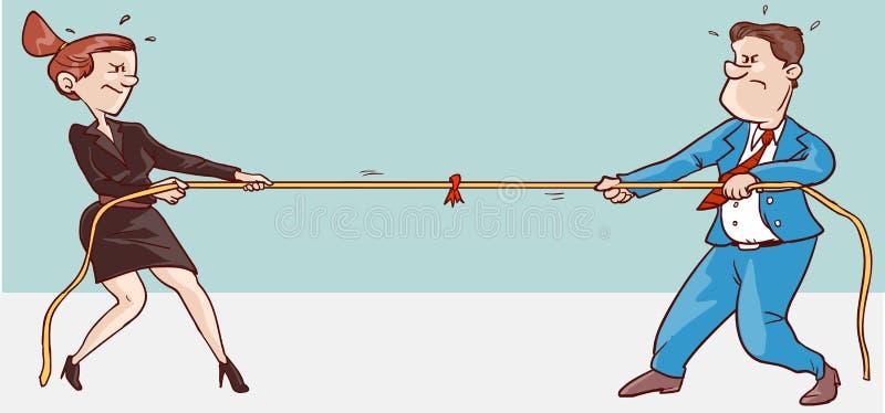 Man och kvinnlig konflikt royaltyfri illustrationer