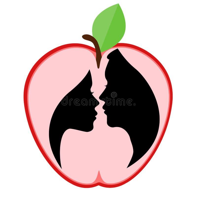 Man och kvinnlig profilkontur på äpplebakgrund royaltyfri illustrationer