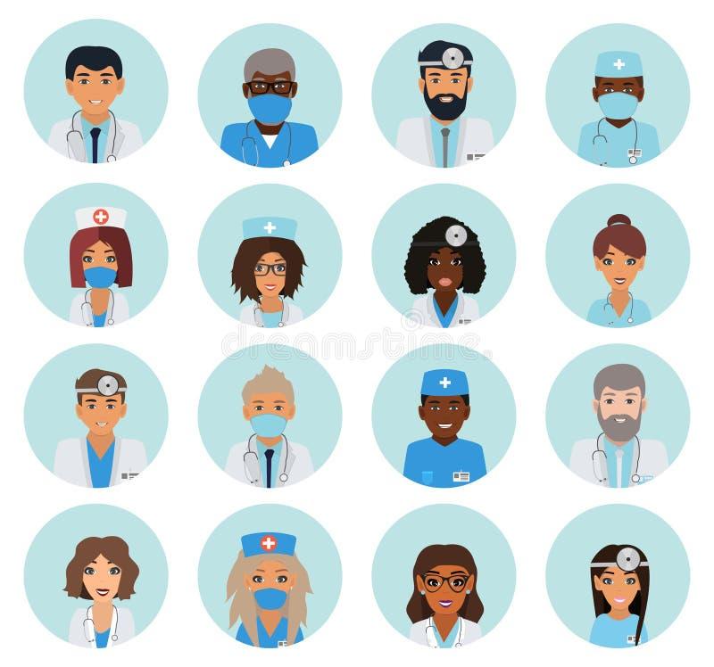 Man och kvinnliga doktorslagavatars royaltyfri illustrationer