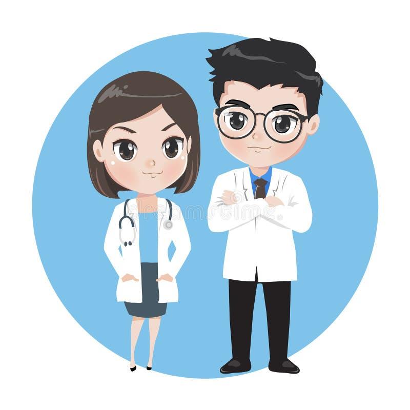 Man och kvinnliga doktorstecknad filmtecken royaltyfri illustrationer