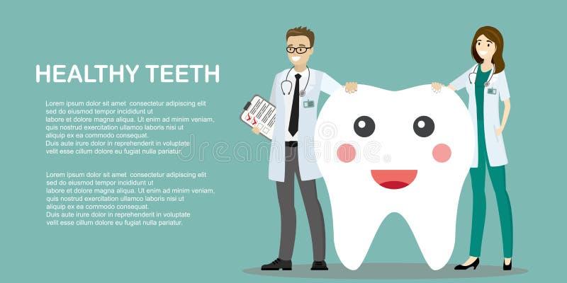Man och kvinnliga tandläkare och en lycklig tand royaltyfri illustrationer