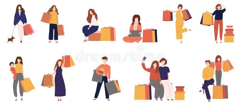 Man och kvinnor som shoppar med påsen, plan symbolsstil för tecknad film för att shoppa som är online-, internet, app som skrivar royaltyfri illustrationer