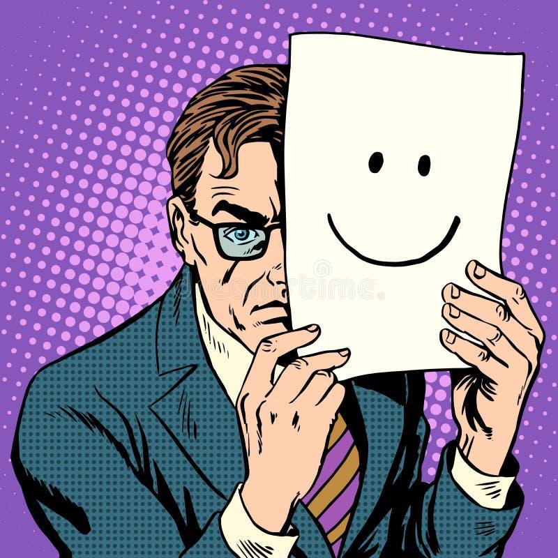 Man och leende för hyckleristealth vresig stock illustrationer
