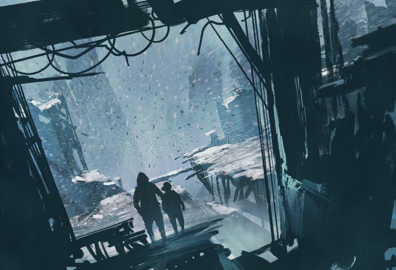 Man- och pojkeanseende som ut ser på den förstörda staden med snöstormen stock illustrationer