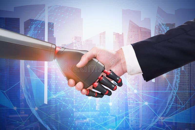 Man och robot som skakar händer i staden, planet royaltyfri bild
