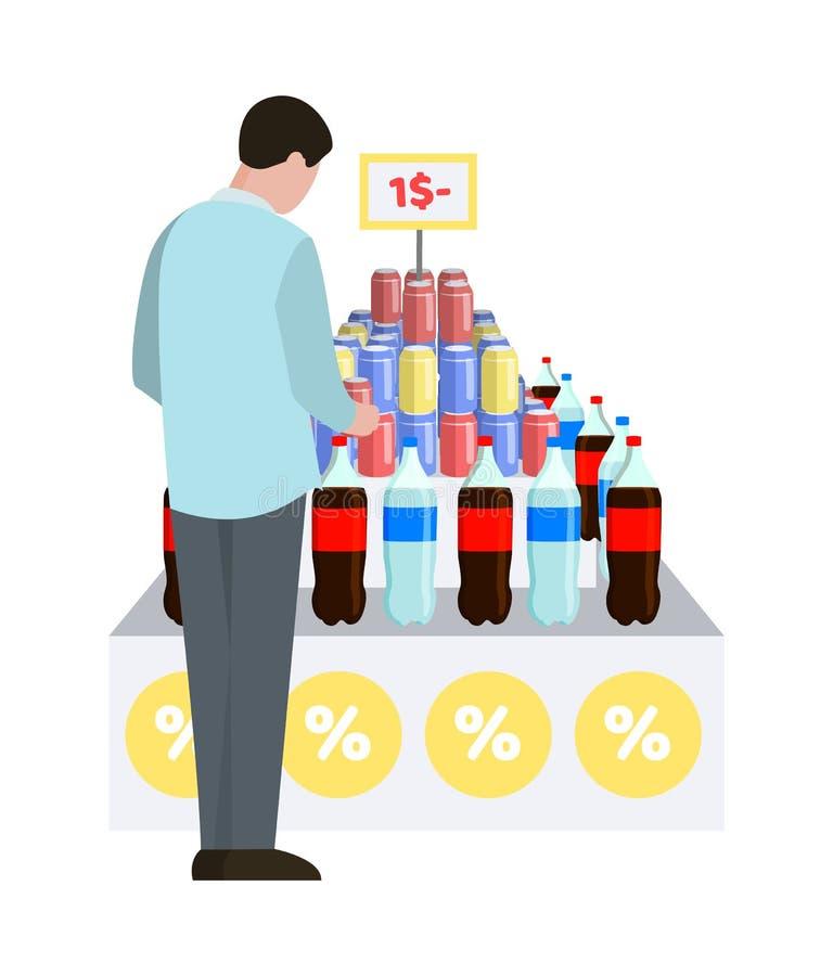 Man och vatten på supermarketvektorillustrationen stock illustrationer