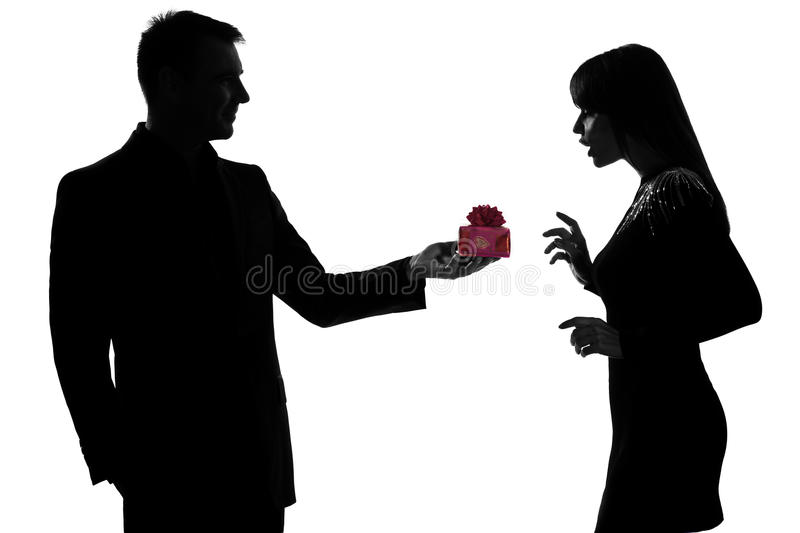 Man Offering Present Gift And Woman Happy Stock Images
