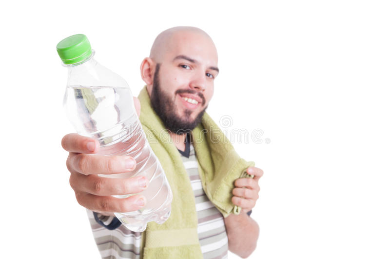 Man offering solution for dehydration royalty free stock photo