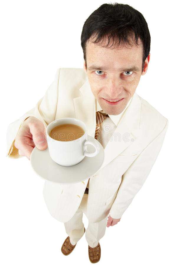 Man offers a cup of coffee royalty free stock images