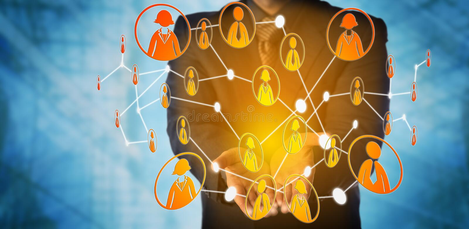 Man Offers Virtual Community Of Interlinked Peers. Blue chip manager is offering a virtual web group of interlinked white collar workers. Business concept for royalty free stock photo