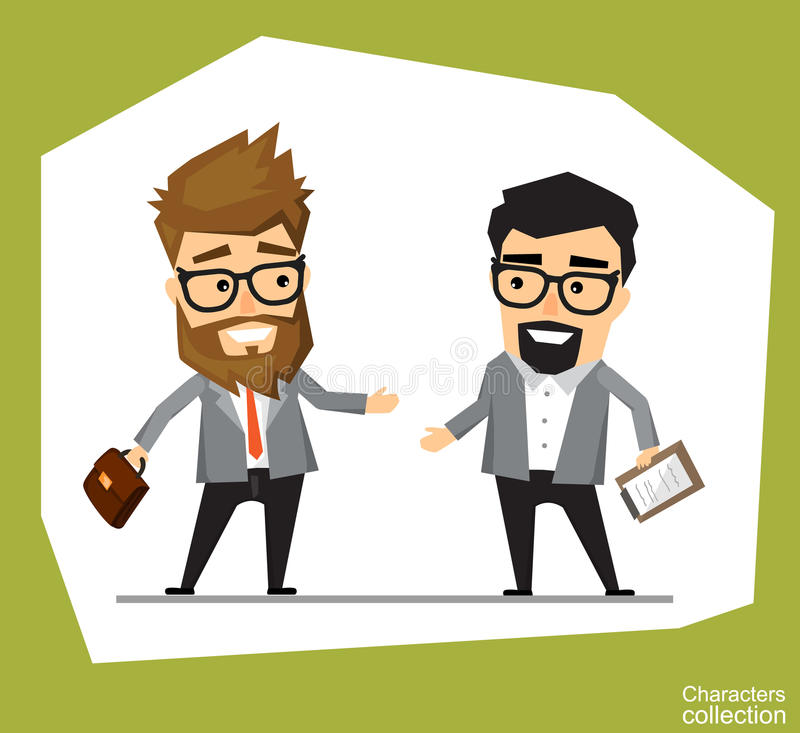A man in an office suit holds a meeting with a business partner vector illustration