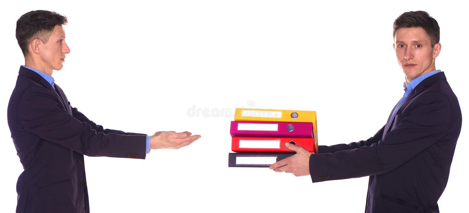 Man office taking folders from his twin isolated royalty free stock photo