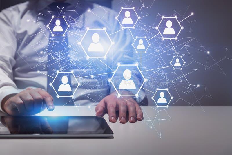 Man in office using tablet, social network vector illustration