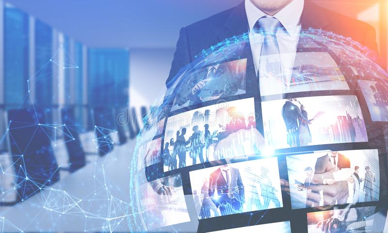 Man in office using video streaming interface royalty free stock images