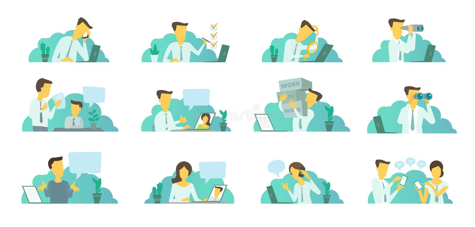 Man in the office at work. Looking for a laptop. Correspondence, communication and problem solving. vector illustration
