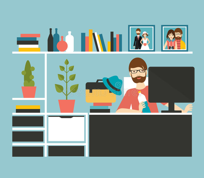 Man office workplace. Art, designer style. stock illustration