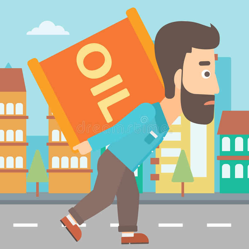 Man with oil can. A hipster man with the beard carrying an oil can on his back on a city background vector flat design illustration. Square layout vector illustration