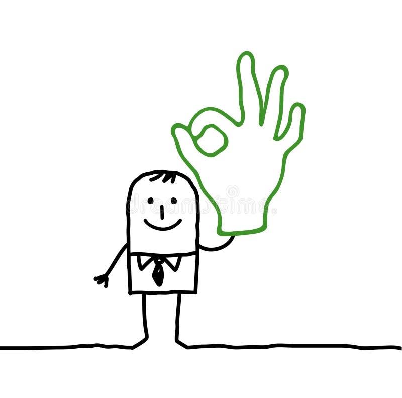 Man & OK hand sign. Hand drawn cartoon characters - man & OK hand sign