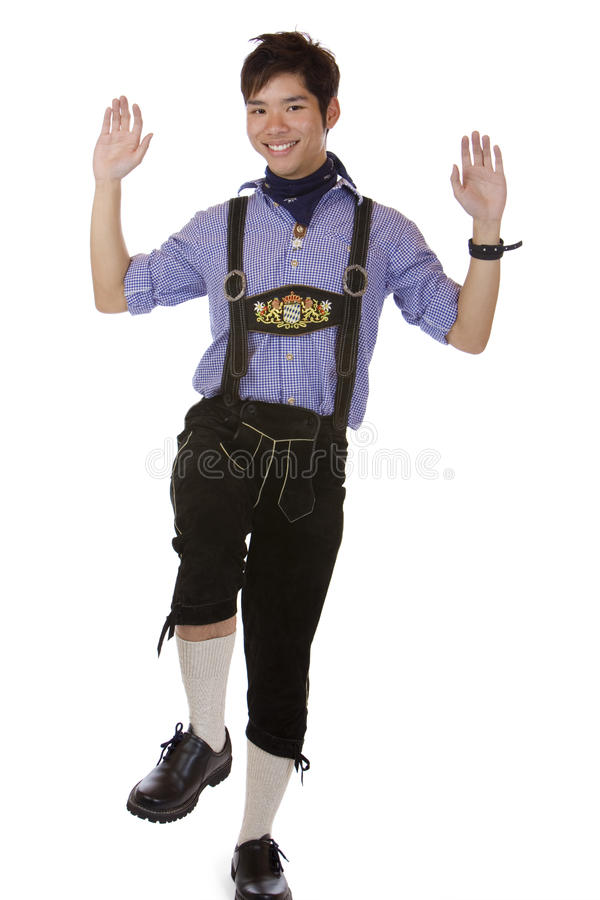 Download Man With Oktoberfest Leather Trousers Is Doing Stock Images - Image: 12189264