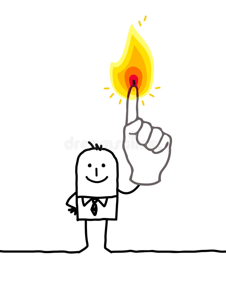 Man with one burning fingers royalty free illustration