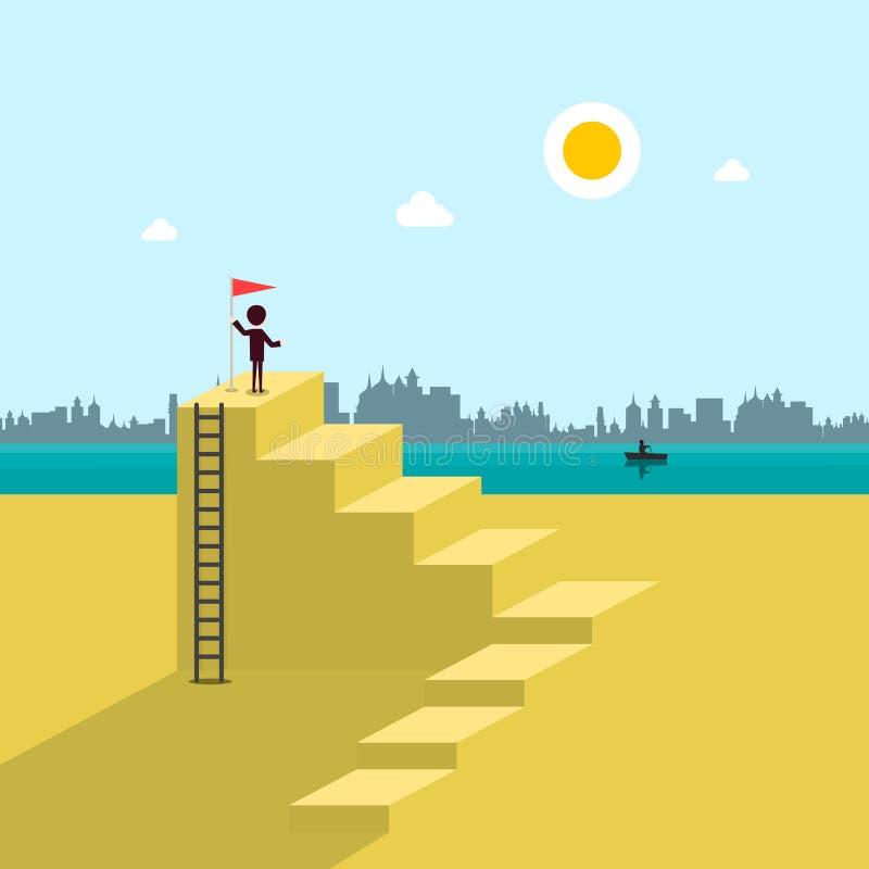 Man op Beach met vlag op de top van de Stairs vector illustratie