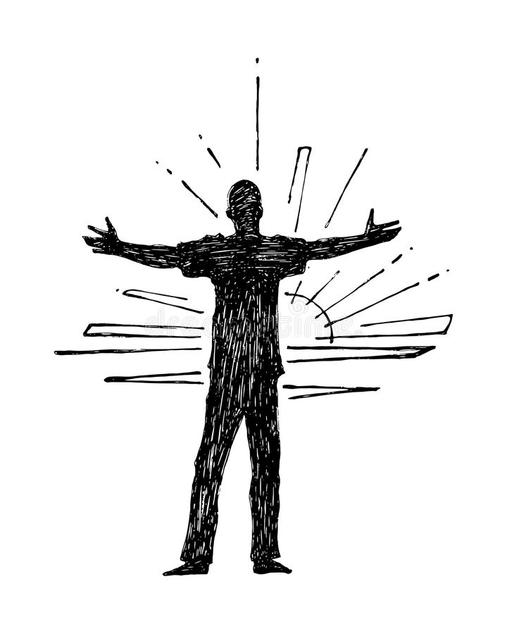 Man with open arms silhouette vector illustration