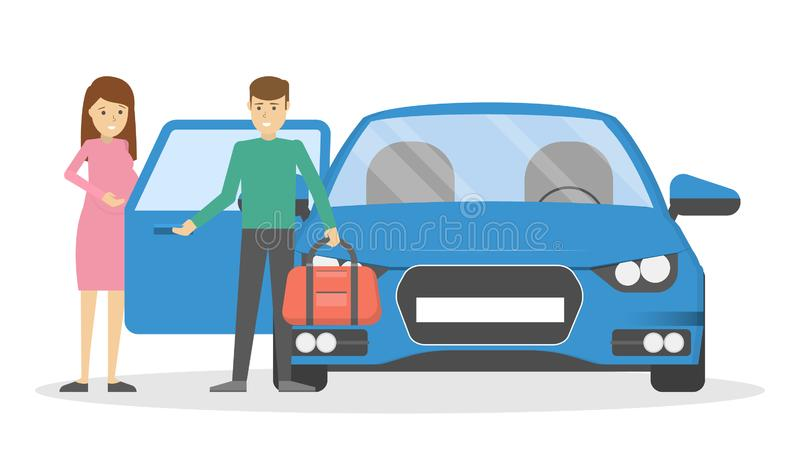 Man open car door for pregnant woman. Man open car or taxi door for pregnant woman. Guy holding opened automobile door for wife. Isolated flat vector royalty free illustration